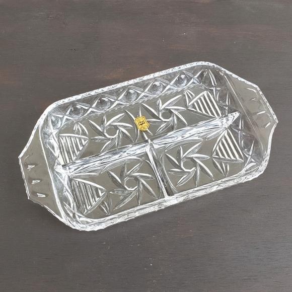 Vintage NWT Poland Hand Cut Crystal Trinket Dish